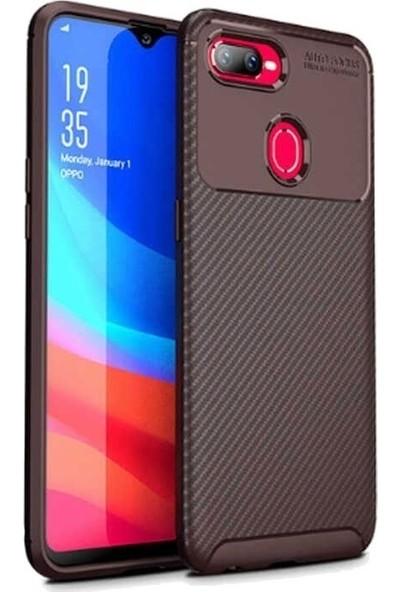 Teleplus Oppo A5s Ultra Soft Negro Karbon Silikon Kılıf Kahverengi