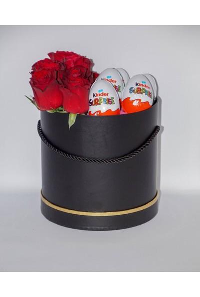 Filika Store Kırmızı Siyah Büyük Kutuda Gül ve Kinder Çikolata