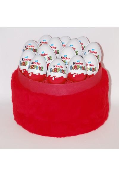 Filika Store Kırmızı Yuvarlak Peluş Kutuda Kinder Çikolata
