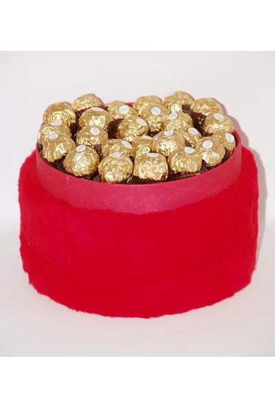 Filika Store Kırmızı Yuvarlak Peluş Kutuda Ferrero Rocher Çikolata