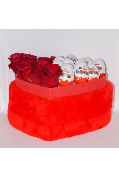 Filika Store Kırmızı Kalpli Büyük Peluş Kutuda Gül ve Kinder Çikolata