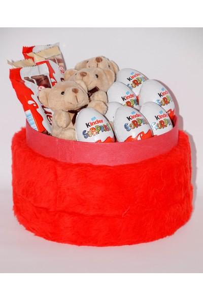 Filika Store Kırmızı Silindir Peluş Kutuda Kinder Bueano Kinder Çikolata ve Ayıcık