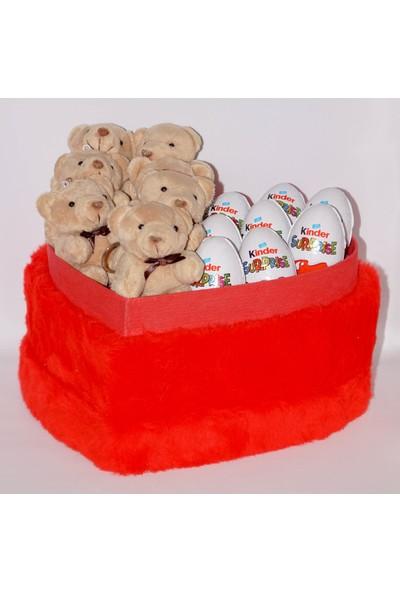 Filika Store Kırmızı Kalpli Büyük Peluş Kutuda Kinder Çikolata ve Ayıcık