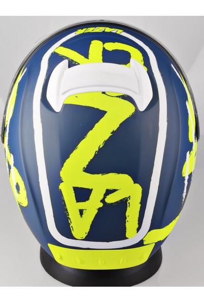 Lazer Rafale Kapalı Kask Mat Neon Sarı Mavi L