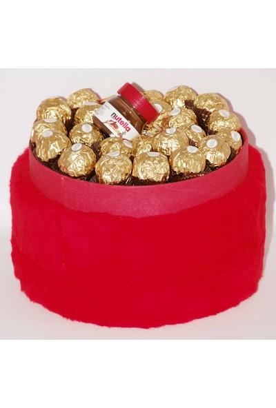 Filika Store Kırmızı Yuvarlak Peluş Kutuda Ferrero Çikolata