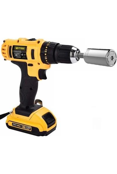 Sturdy Power Tools 24 V 5 A Darbesiz Professional Şarjlı Vidalama Matkap + 7 - 19 Çok Amaçlı Lokma Ucu