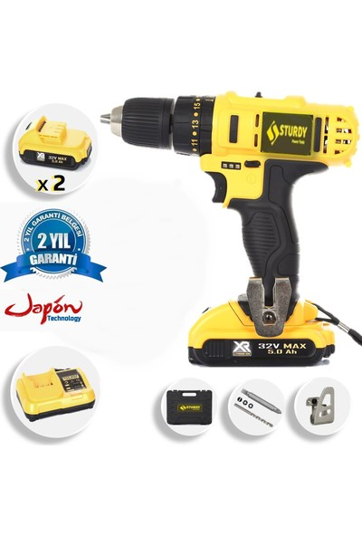 Sturdy Power Tools 32 V 5 A Darbesiz Professional Şarjlı Vidalama Matkap