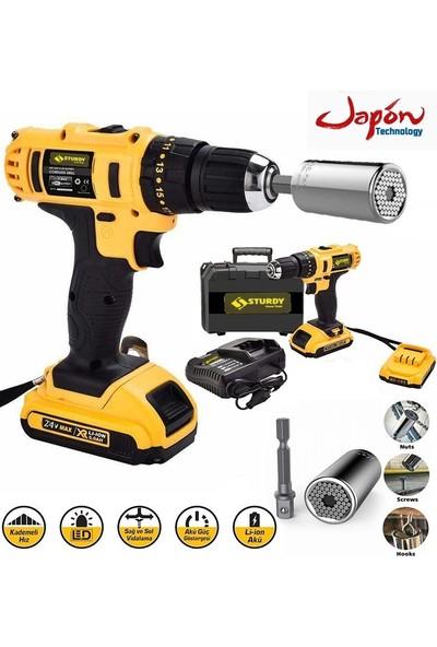 Sturdy Power Tools 32 V 5 A Darbeli Professional Şarjlı Vidalama Matkap + 7 - 19 Çok Amaçlı Lokma Ucu