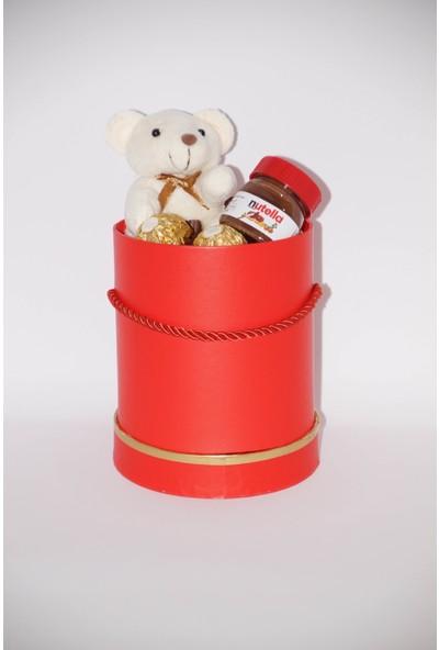 Filika Store Kırmızı Silindir Küçük Kutuda Ferrero Çikolata - Ayıcık - Nutella