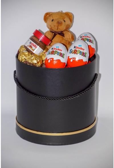 Filika Store Siyah Büyük Kutuda Ferrero - Kinder - Nutella - Ayıcık