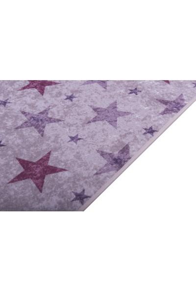 Caricia - Star Pembe Kız Çocuk Odası Halısı Dijital Baskı Lateks Dolgu Taban 120 x 180 cm CH-100620