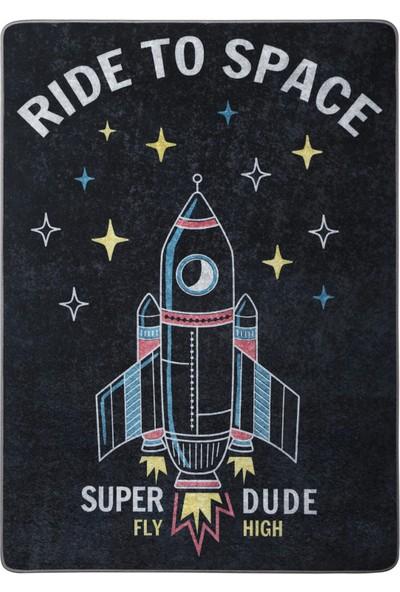 Caricia - Ride To Space Uzay Mekiği Desenli Erkek Çocuk Odası Halısı Dijital Baskı Lateks Dolgu Taban 120 x 180 cm CH-100615