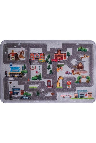 Caricia - Traffic Erkek Çocuk Odası Halısı Dijital Baskı Lateks Dolgu Taban 120 x 180 cm CH-100617