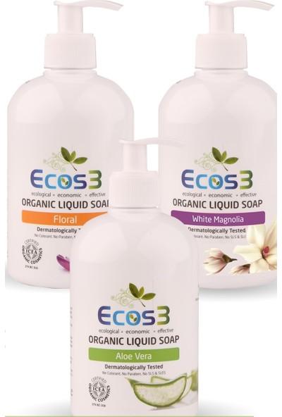Ecos3 Organik Sıvı Sabun Aloe Vera + Floral + Beyaz Manolya (3 X 500 Ml)