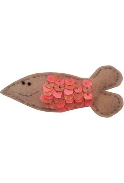 Pettoystr Kedi Oyuncağı Keçe Pullu Balık 3,5 - 10 cm Taba - Pembe