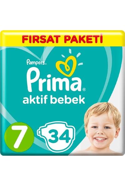 Prima Bebek Bezi Aktif Bebek 7 Beden Fırsat Paketi 15+ kg 34 x 4'lü Set