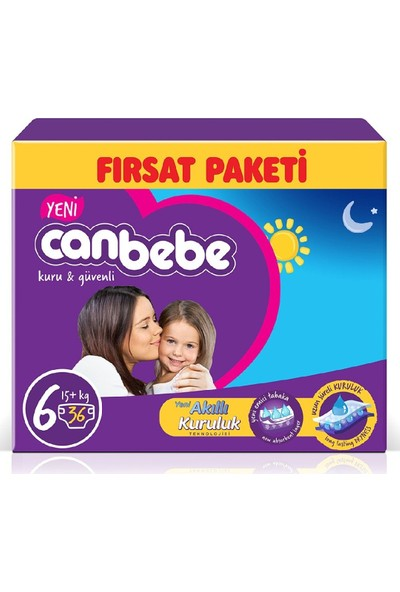 Canbebe Aylık Fırsat Paketi Bebek Bezi 15+ kg No:6 Extra Large 44 x
