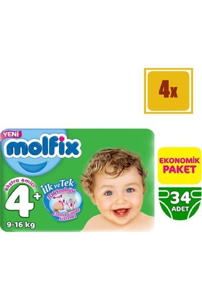 Molfix Jumbo Paket Maxi Plus No.4 9-16 kg Bebek Bezi 34 x 4'lü Set
