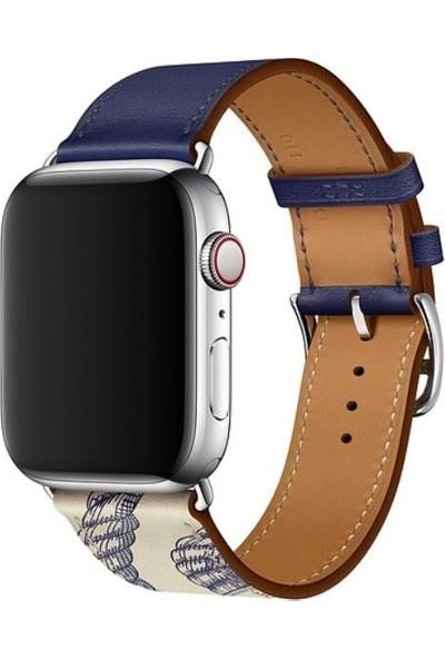 Aksesuarkolic Apple Watch 42-44 mm Deri Çift Renkli Desenli Kordon Kayış - Lacivert