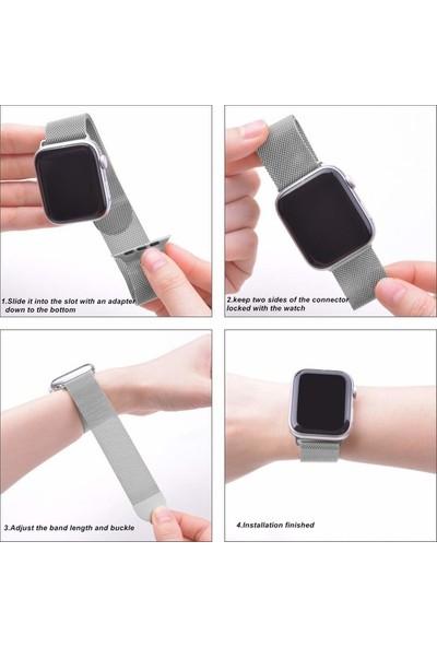 Aksesuarkolic Apple Watch 42-44 mm Çelik Örme Mıknatıslı Kordon Kayış - Siyah