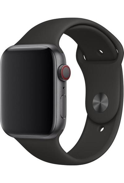 Aksesuarkolic Apple Watch 42-44 mm Silikon Kordon Kayış - Siyah