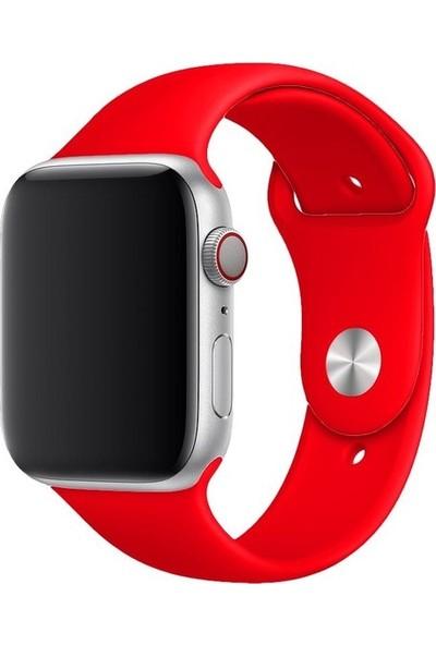Aksesuarkolic Apple Watch 38-40 mm Silikon Kordon Kayış - Kırmızı