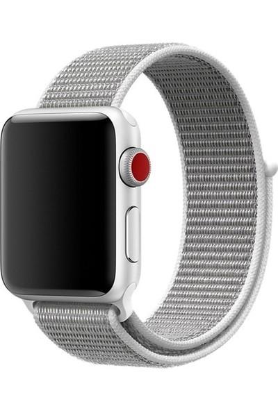 Aksesuarkolic Apple Watch 38-40 mm Silikon Dokuma Kordon Kayış - Gri
