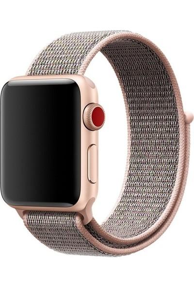Aksesuarkolic Apple Watch 38-40 mm Silikon Dokuma Kordon Kayış - Pembe