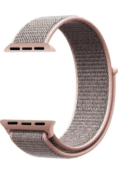 Aksesuarkolic Apple Watch 42-44 mm Silikon Dokuma Kordon Kayış - Pembe