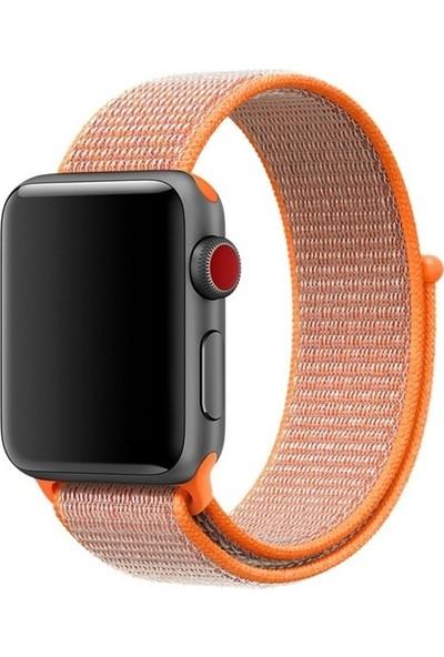 Aksesuarkolic Apple Watch 42-44 mm Silikon Dokuma Kordon Kayış - Turuncu