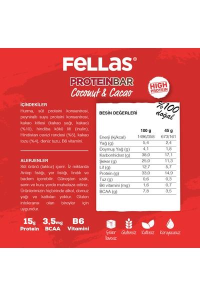 Fellas Yüksek Protein Bar Hindistan Cevizi ve Kakaolu 45 gr