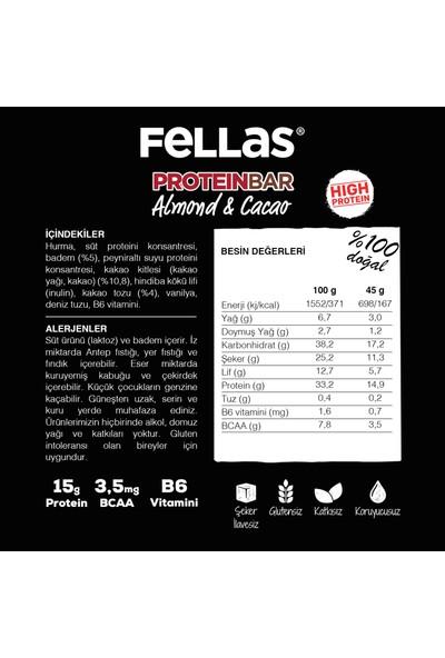 Fellas Yüksek Protein Bar - Badem ve Kakaolu 45 gr x 12 Adet