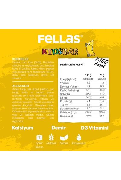 Fellas Kids Muz ve Kakolu Meyve Barı 28 gr