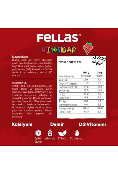 Fellas Kids Meyve Bar - Çilek ve Kakaolu x 12 Adet