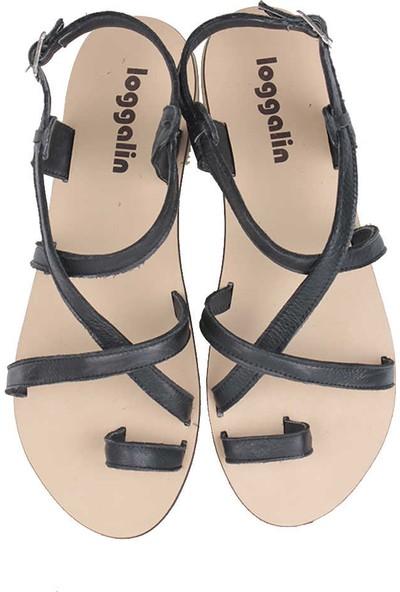 Loggalin 906079 014 Kadın Siyah Deri Sandalet