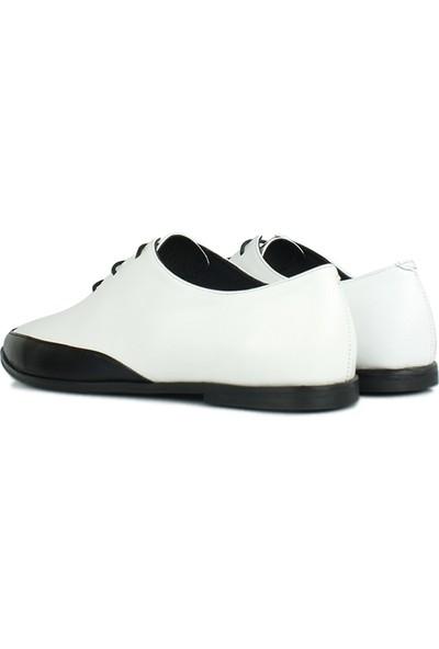 Erkan Kaban 231042 465 Kadın Siyah Beyaz Deri Ayakkabı