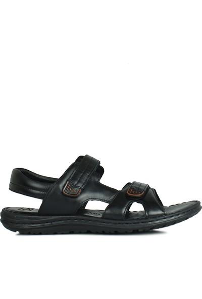Kalahari 850186 014 Erkek Siyah Deri Sandalet
