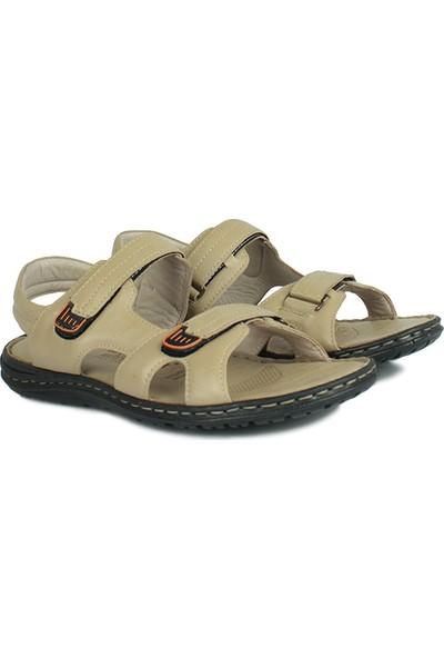 Kalahari 850186 324 Erkek Bej Deri Sandalet