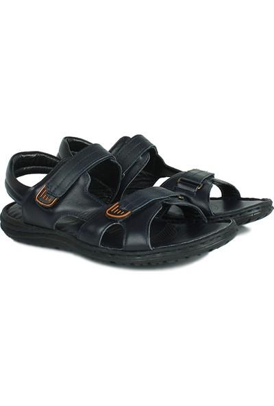 Kalahari 850186 424 Erkek Lacivert Deri Sandalet