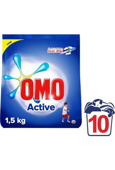 Omo Matik Active 1,5 kg Toz Çamaşır Deterjanı 9'lu Set