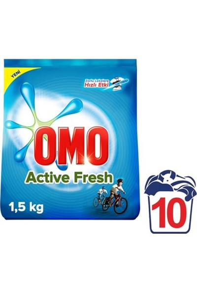 Omo Matik Active Fresh 1,5 kg Toz Çamaşır Deterjanı 9'lu Set