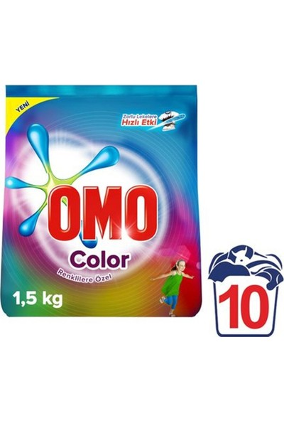 Omo Matik Color 1,5 kg Toz Çamaşır Deterjanı 9'lu Set