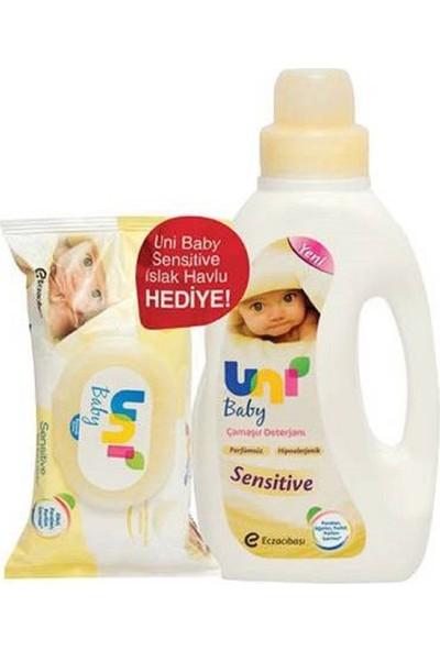 Uni Baby Sensitive Çamaşır Deterjanı 1500 ml 6'lı Set Islak Havlu Hediyeli
