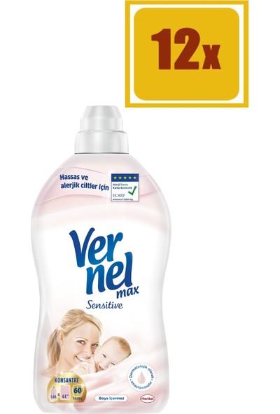 Vernel Max Konsantre Sensitive Çamaşır Yumuşatıcısı 1440 ml 60 Yıkama 12'li Set