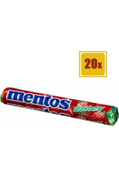 Mentos Stick Çilek 39 gr 20'li Set