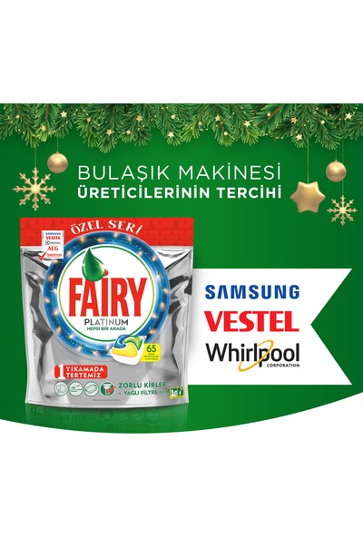 Fairy Platinum 195 Yıkama Bulaşık Makinesi Deterjanı Kapsülü Limon Kokulu Özel Seri