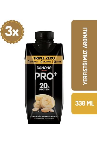 Danone Pro+ Muz & Yer Fıstıklı Proteinli Süt 330 ml x 3 Adet
