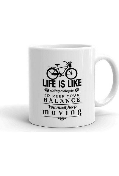 Wuw Life Is Like Riding Bicycle Seramik Kupa