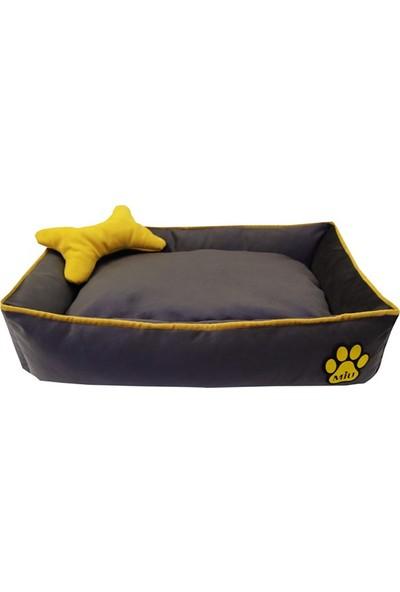 Miu Kemik Yastıklı Tay Tüyü Köpek Yatağı 10 x 40 x 60 cm Gri - Sarı