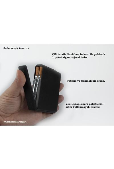 Als Tobacco Hem Çakmak Hem Tabaka Yeni Model Üstten Çıkmalı Çift Hazneli Sigara Tabakası